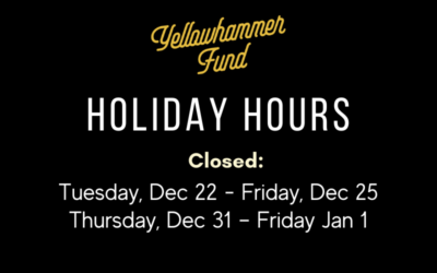Yellowhammer Fund's Holiday Hours 2020